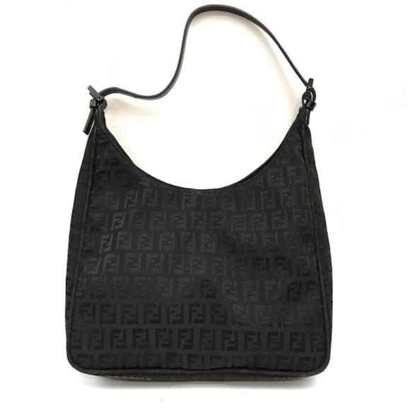 d649f2d73d65 FENDI Handbags - Fendi Black Zucchino Canvas Shoulder Handbag